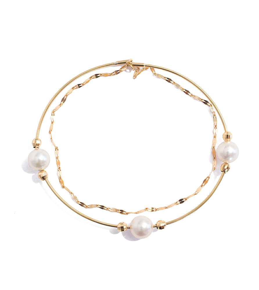 Snap On Gold and Akoya Pearl Bangle - K.D. Jewelry Sf