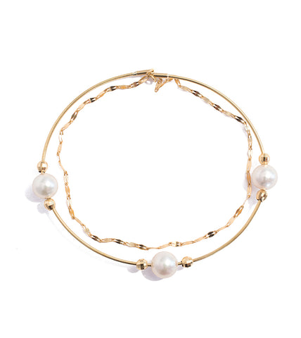 Snap On Gold and Akoya Pearl Bangle