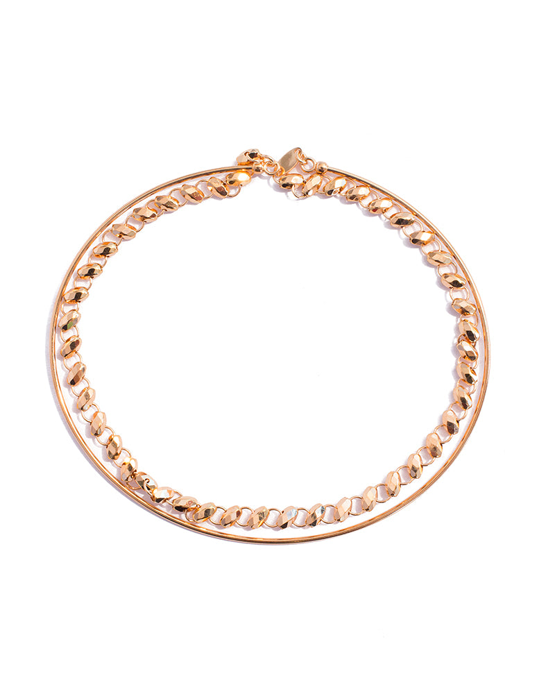 Snap on Two Layer Rose Gold Chain Bangle - K.D. Jewelry Sf