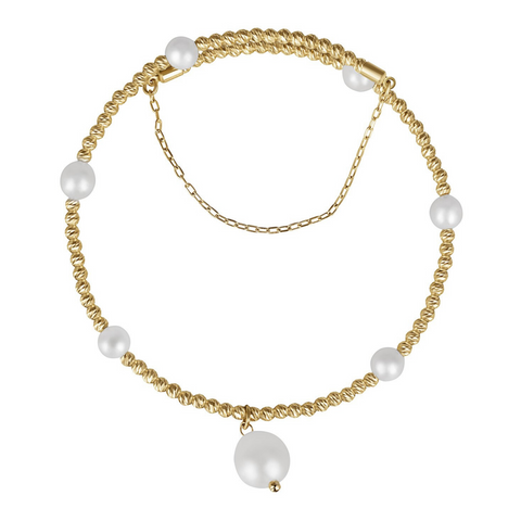 18K Free Size Gold and Pearl Bangle