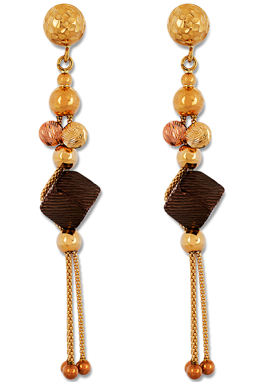 Yellow and Brown Gold Necklace Set - K.D. Jewelry Sf
