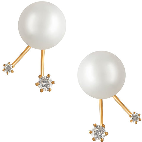 18K Rose Gold South Sea Pearl and Diamond Earrings