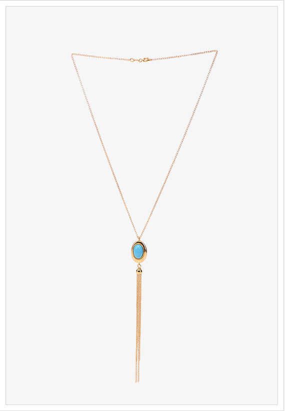 Gold and Blue Turquoise Necklace - K.D. Jewelry Sf