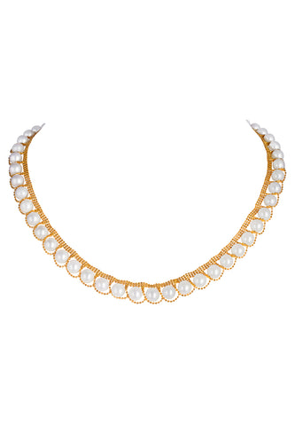 Gold and Akoya Pearl Necklace