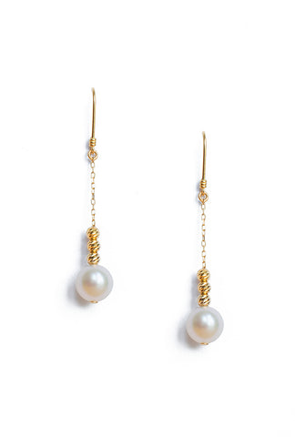 Akoya Pearl Earrings with Diamond Cut Gold Beads
