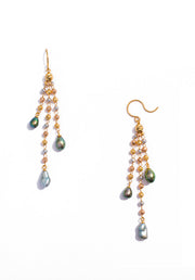 Keshi Pearl Tricolor Gold Earrings - K.D. Jewelry Sf