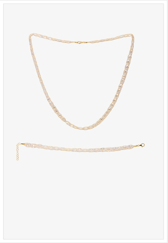 Gold Crochet Necklace and Bracelet with CZ - K.D. Jewelry Sf