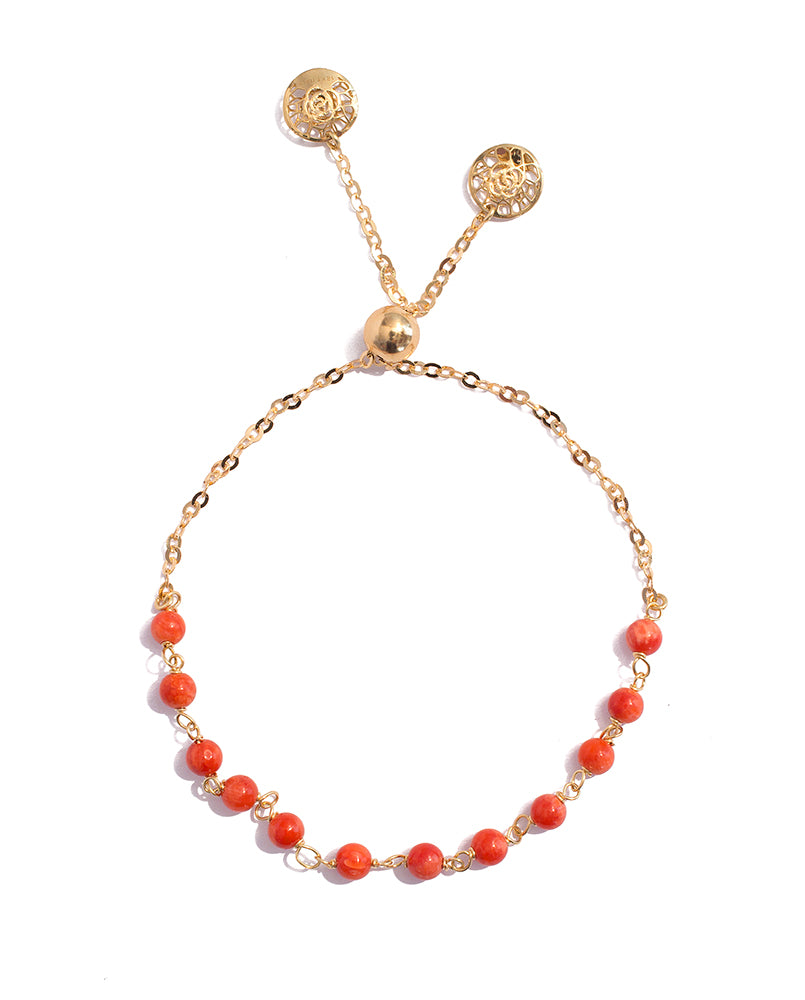 Adjustable Yellow Gold Coral Bracelet - K.D. Jewelry Sf