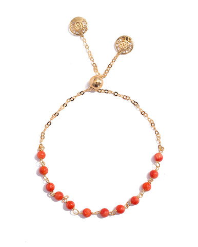 Adjustable Yellow Gold Coral Bracelet