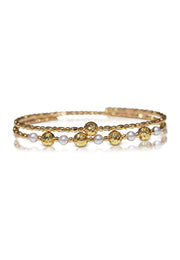 Free-Size Diamond Cut Gold and Pearl Spiral Bangle - K.D. Jewelry Sf