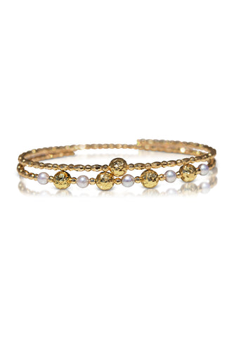 Free-Size Diamond Cut Gold and Pearl Spiral Bangle