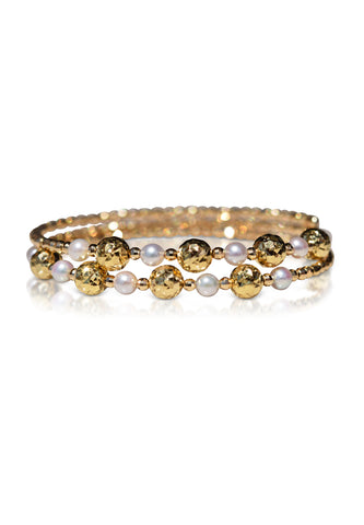 Two-Side Wear Gold and Akoya Pearl Spiral Bangle