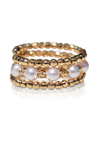 Two-Side Wear Spiral Gold and Akoya Pearl Ring