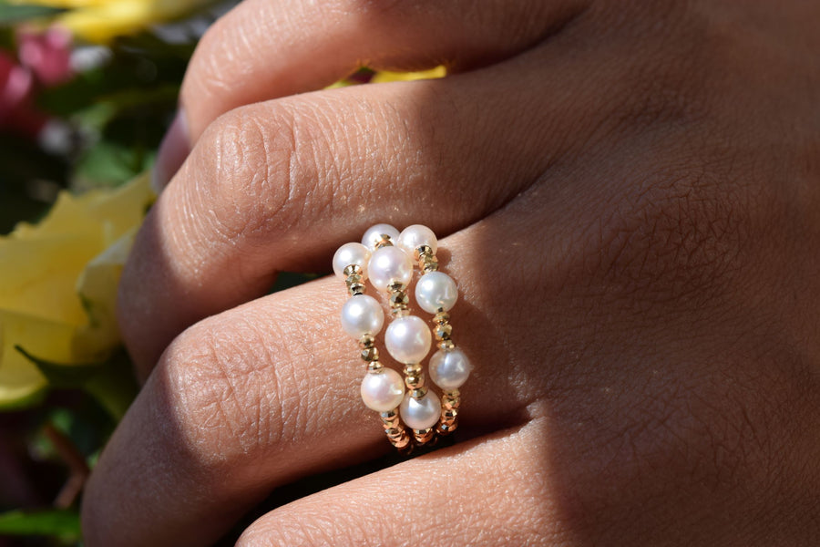 3 layer Akoya Pearl Ring with an Adjustable Chain - K.D. Jewelry Sf