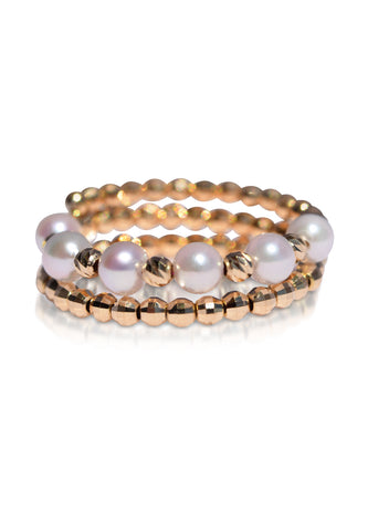 18K Yellow Gold and Akoya Pearl Spiral Ring