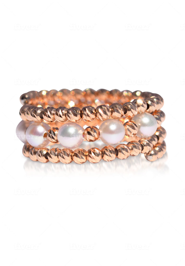 Two-Side Wear Rose Gold and Akoya Pearl Spiral Ring - K.D. Jewelry Sf