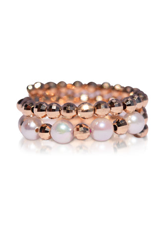 Two-Layer Rose Gold and Akoya Pearl Spiral Ring