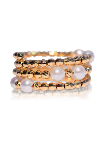 Multiple Layer 18K Yellow Gold and Akoya Pearl Spiral Ring