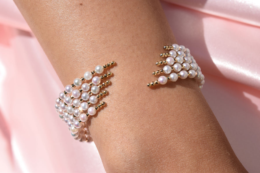 Two-Way Wear Snap On Akoya Pearl Bangle - K.D. Jewelry Sf