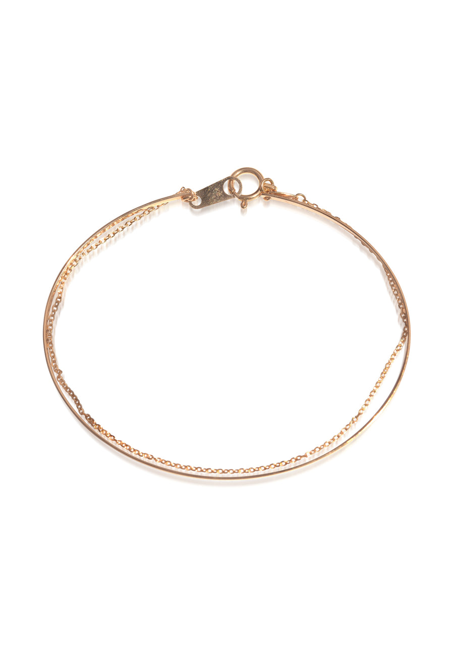 Yellow Gold Chain Snap On Bangle