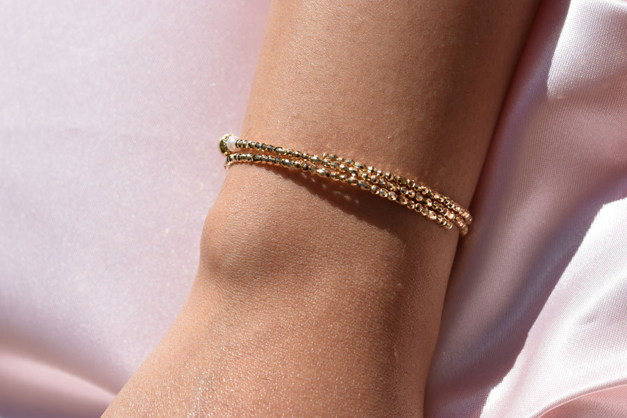 Two-Side Wear Gold and Akoya Pearl Spiral Bangle - K.D. Jewelry Sf