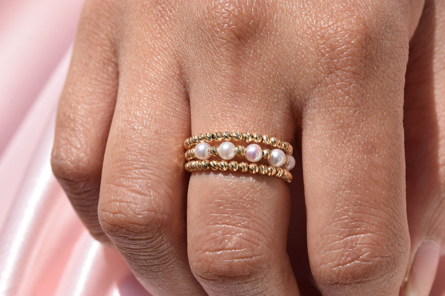 Two-Side Wear Spiral Gold and Akoya Pearl Ring - K.D. Jewelry Sf