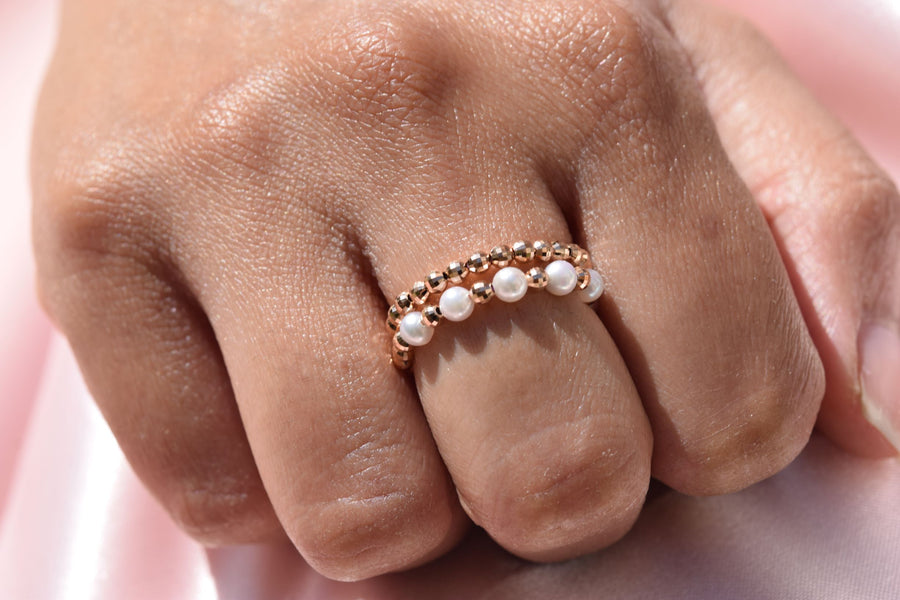 18K Yellow Gold and Akoya Pearl Spiral Ring - K.D. Jewelry Sf