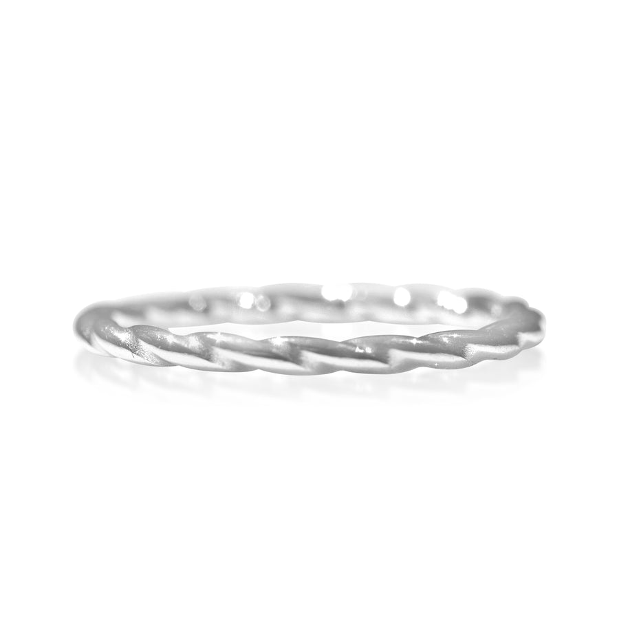 18K White Gold Rope Ring