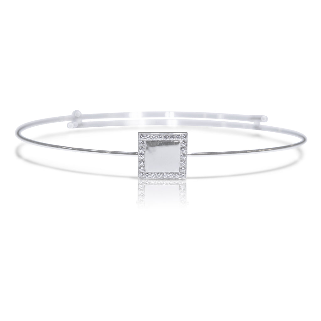 Square White Gold Bangle - K.D. Jewelry Sf