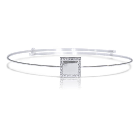 Square White Gold Bangle