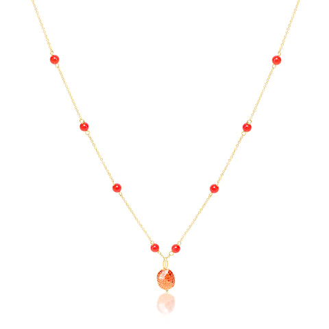 Red Color Stone Necklace