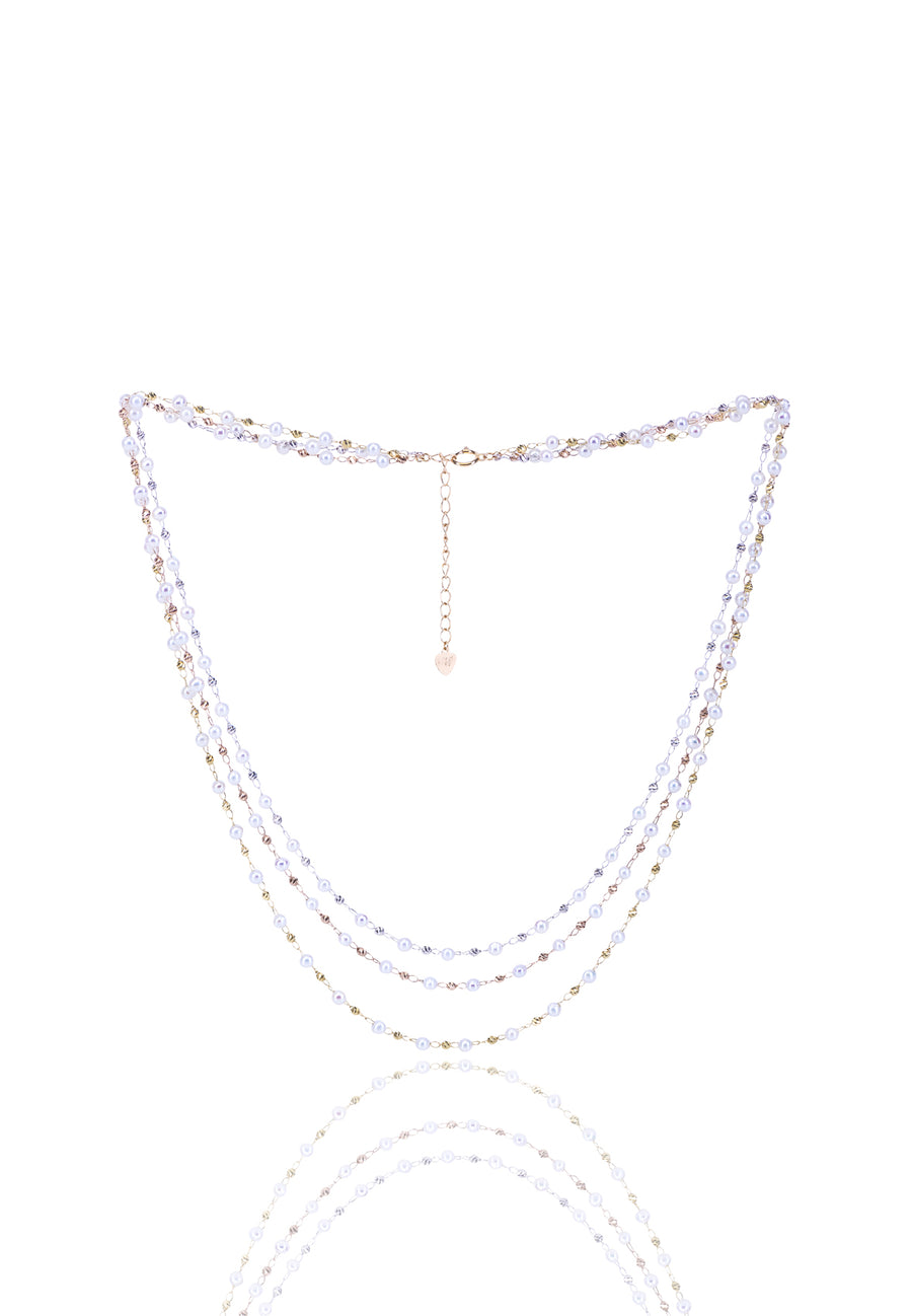 Tricolor Gold Pearl Necklace - K.D. Jewelry Sf