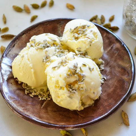 Cloud Forest Cardamom Ice Cream with Candied Fennel Seeds