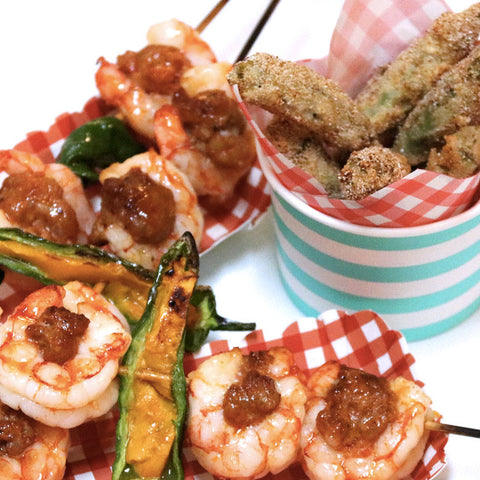 Tequila Shrimp & Chorizo Skewers