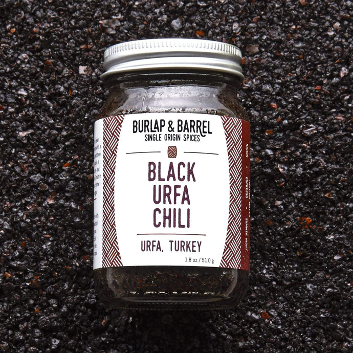 Burlap & Barrel Black Urfa Chili 1.8 oz glass jar