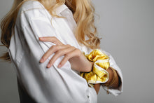 ABSOLUTE GOLD - 2 PACK - Silk Scarves Scrunchies - 100% greek silk - fgtonsilk