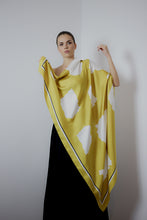 Gold Cotton Paper Simplicity - portrait - silk scarf - fgtonsilk