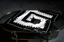 """B&W Negative G Castle"" - neckerchief scarf 68 - silk scarf - FGTONSILK"