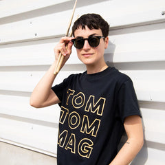 Tom Tom Old School Knockout T-Shirt - Peach on Black