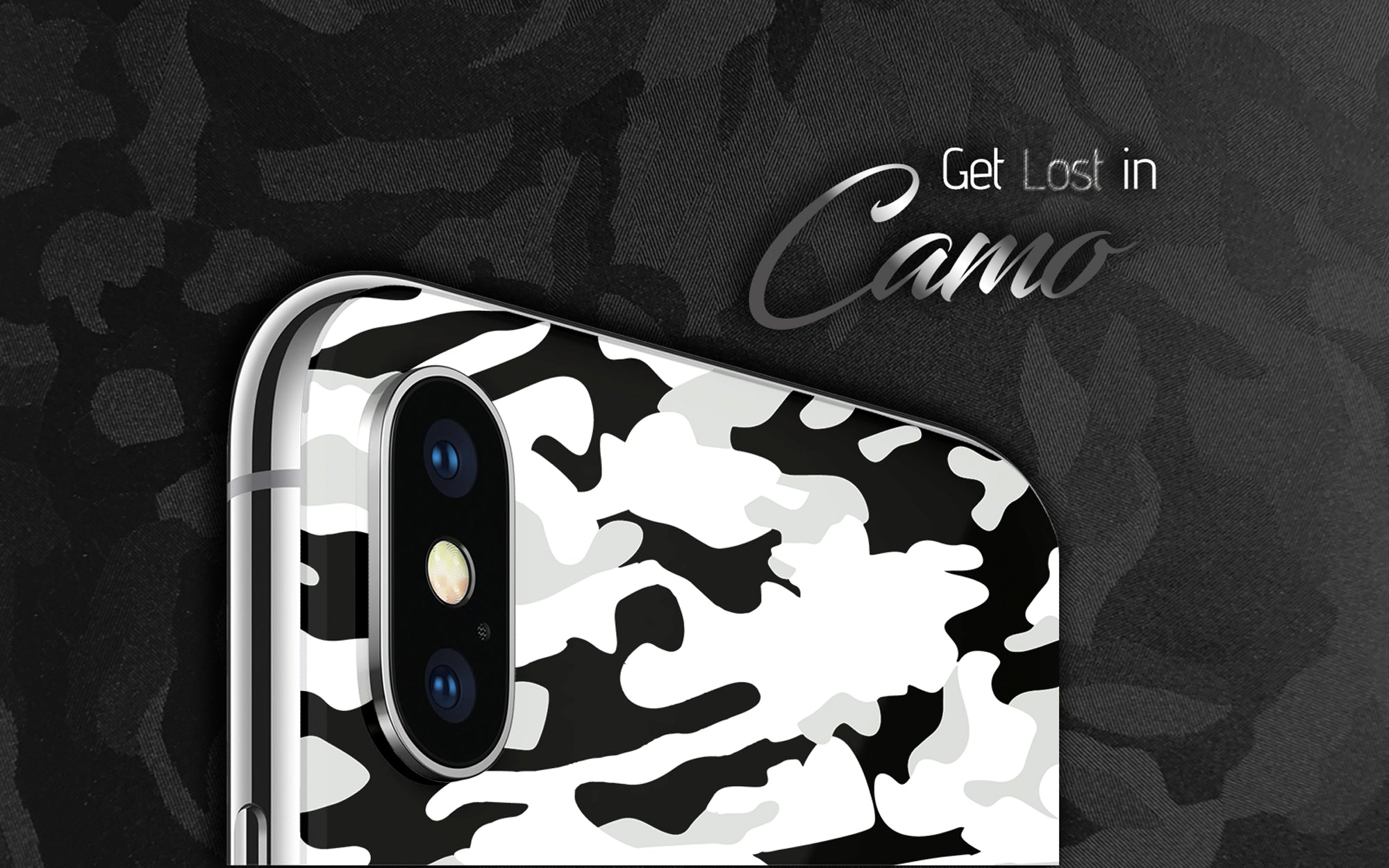 Get lost in Camo.  Camo skins and wraps for iPhone X, iPhone 6 cases, iPhone 7 phone cases, and many other phone cases. Available in Pink camo, Black and White camo, Blue camo, Green camo, Orange camo, and Purple camo