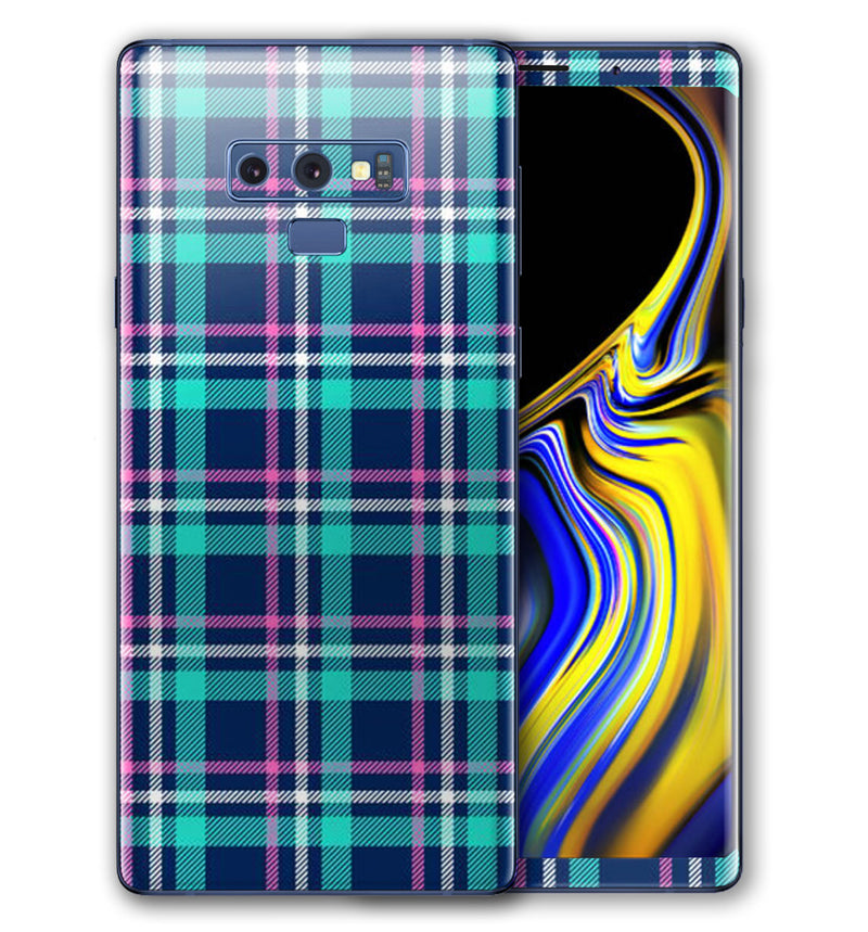 Galaxy Note 9 decorative phone skins.  Unique phone wraps for the Note 9.  Custom make your own phone skin.  Phone decals will personalize your Note 9.  Plaid mobile phone skins and wraps.
