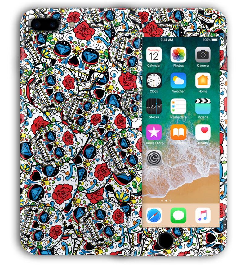 iPhone 8 Plus Phone Skins Sugar Skulls - JW Skinz