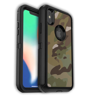 MultiCam phone skins and protective decals for iPhone XS Max OtterBox Defender case.