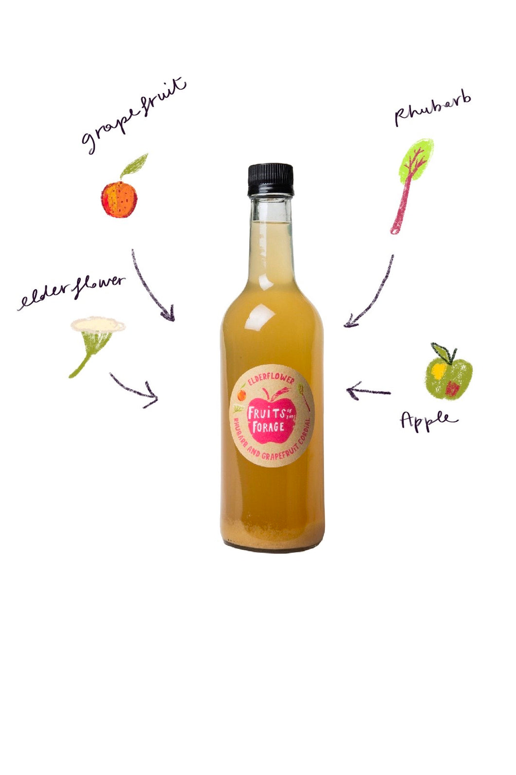 Elderflower, Rhubarb & Grapefruit Cordial (500ml)