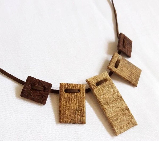 Barkcloth Wrap Necklace