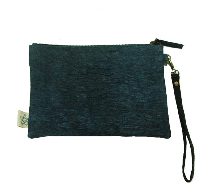 Tree Bark Natural Dyed Pouch - Indigo and white