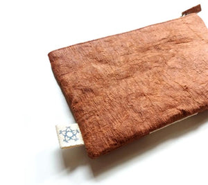 Tree Bark Natural Dyed Pouch - Brown and white