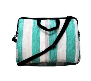 Upcycled Handmade Laptop Bag - Green and White