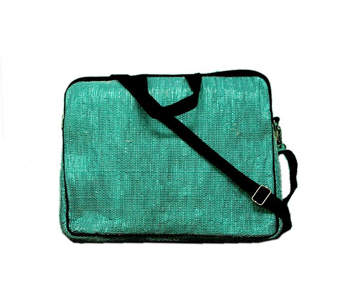 Upcycled Handmade Laptop Bag - Green