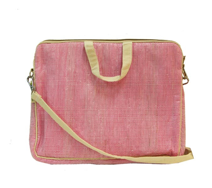 Upcycled Handmade Laptop Bag - Pink & off-white